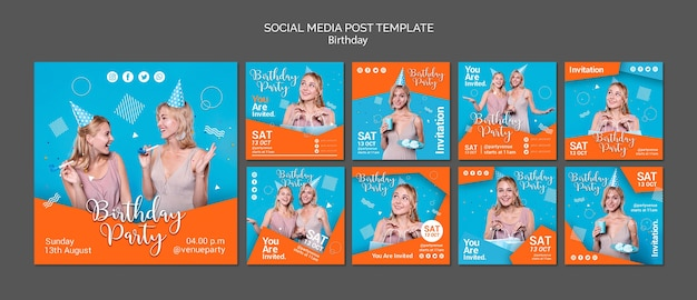 Birthday party social media posts template