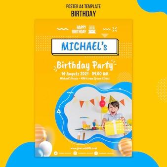 Шаблон плаката ко дню рождения с фото
