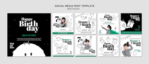 Birthday social media post template