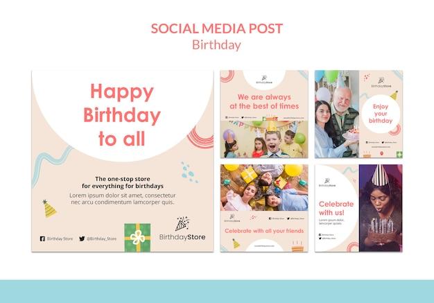Modello di post sui social media di compleanno