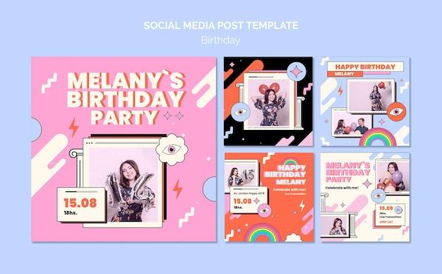 생일 소셜 미디어 게시물