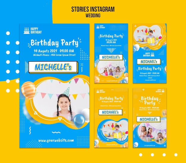 Birthday social media stories template with photo