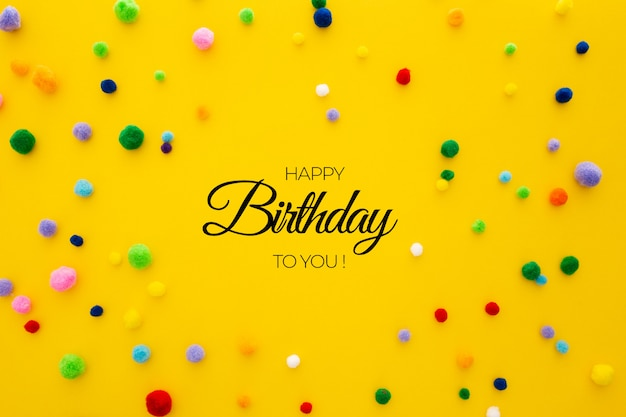 Birthday template on yellow background