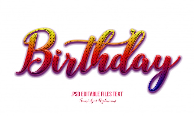 Birthday text effect psd, set elegant pink purple red abstract beautiful text effect, lovely text style editable font effect