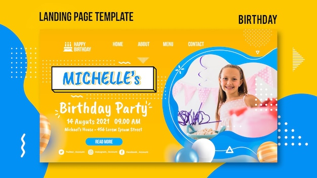 Birthday web template with photo
