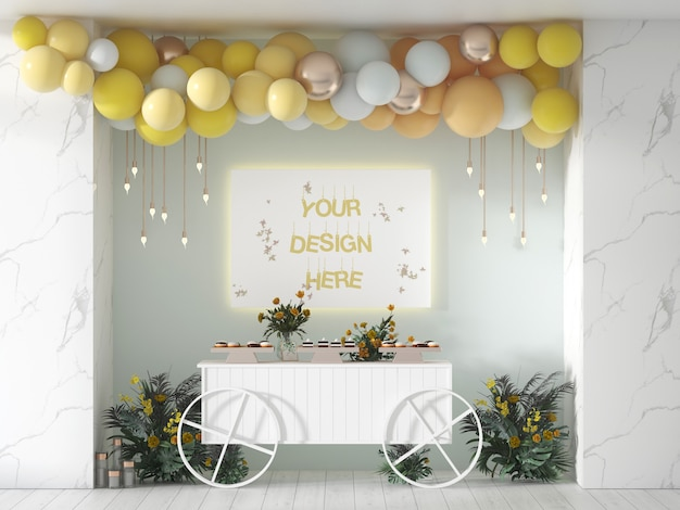Birthday or wedding party banner decorated with balloons
