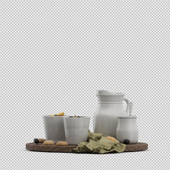 Biscuits with milk 3d isolated render