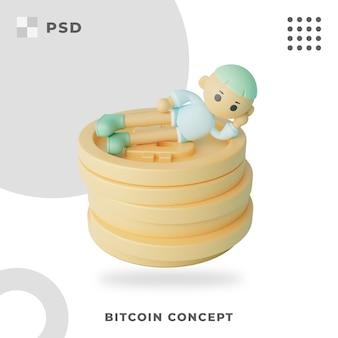 ビットコインコンセプト3dイラスト
