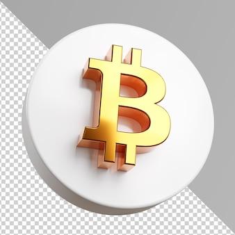 Биткойн золотой значок изолированные логотип в 3d-рендеринге