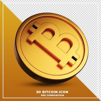 ビットコインアイコンの3dレンダリング Premium Psd