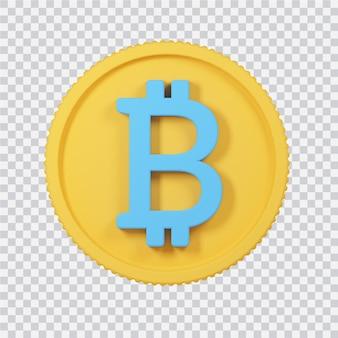 흰색 3d 렌더링된 이미지에 고립 된 bitcoin 아이콘
