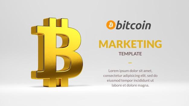 Маркетинговый шаблон bitcoin с символом изолированного 3d-рендеринга