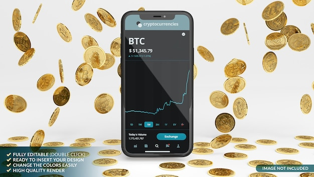Bitcoins rain with mobile phone mockup in 3d rendering