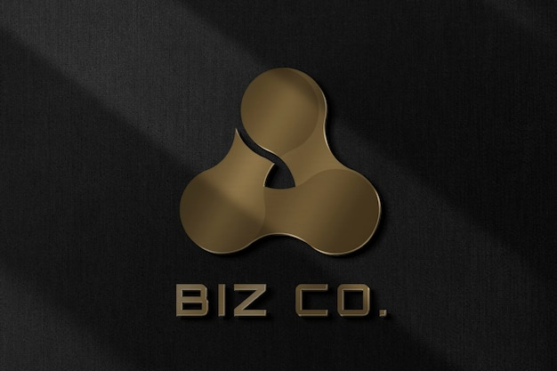 Biz co logo psd template in metallic text effect