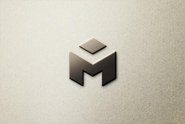 Черный 3d логотип макет на бетоне