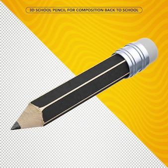 Black 3d pencil flying for composition back to school