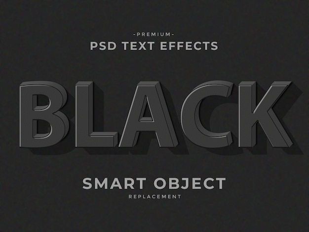 Black 3d photoshop layer style text effects