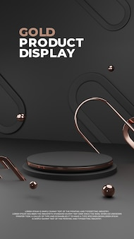 Черный дисплей изделия из подиума 3d