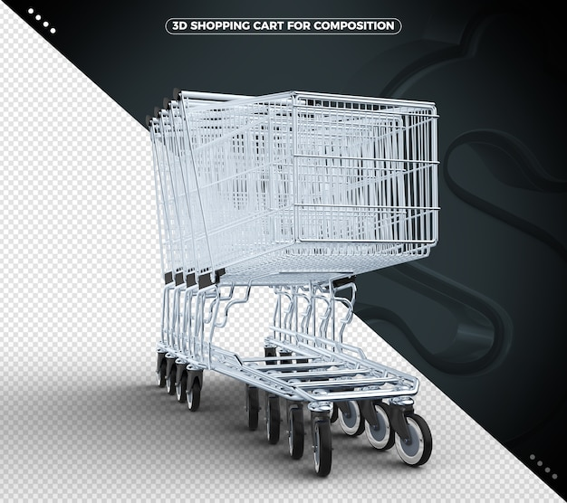 Black 3d shopping cart isolated