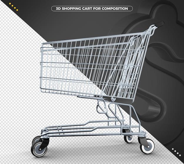 Black 3d supermerket cart in 3d rendering isolated