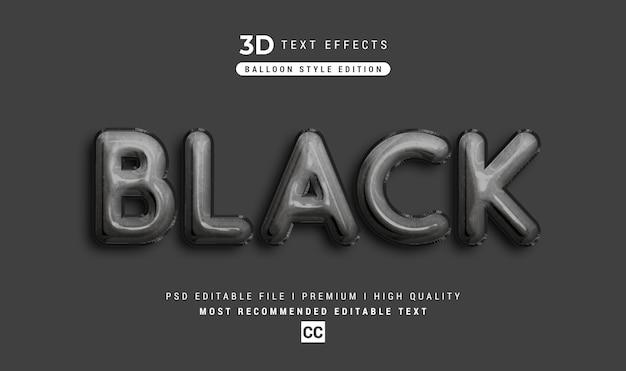 黒の3dテキストスタイル効果のモックアップ