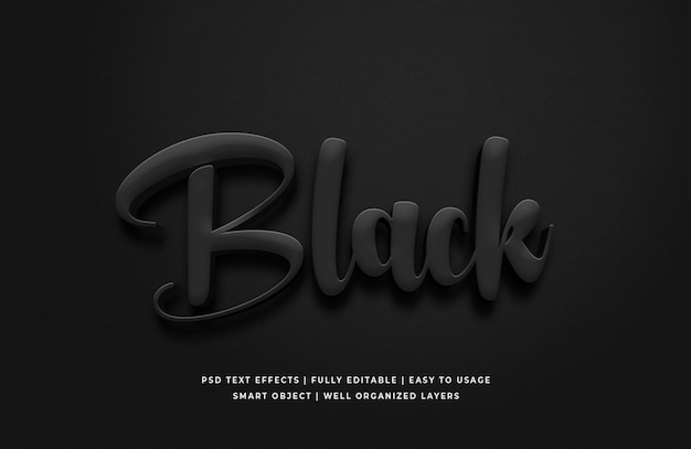 Черный 3d текстовый эффект
