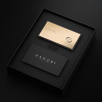 브랜딩 3d 렌더링을위한 검정색과 금색 활자 현대 명함 모형