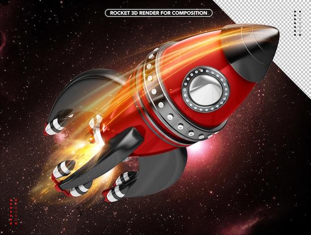 Черно-красная реалистичная 3d-ракета, летящая над головой