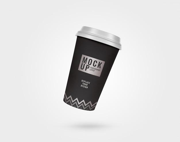 Черно-серебряный бумажный стаканчик и пластиковая крышка
