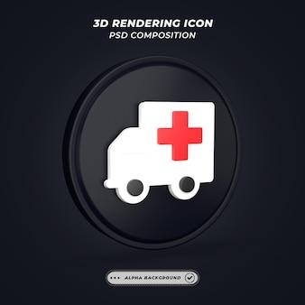 3dレンダリングの黒と白の救急車のアイコン