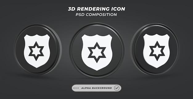Черно-белый значок значка в 3d-рендеринге