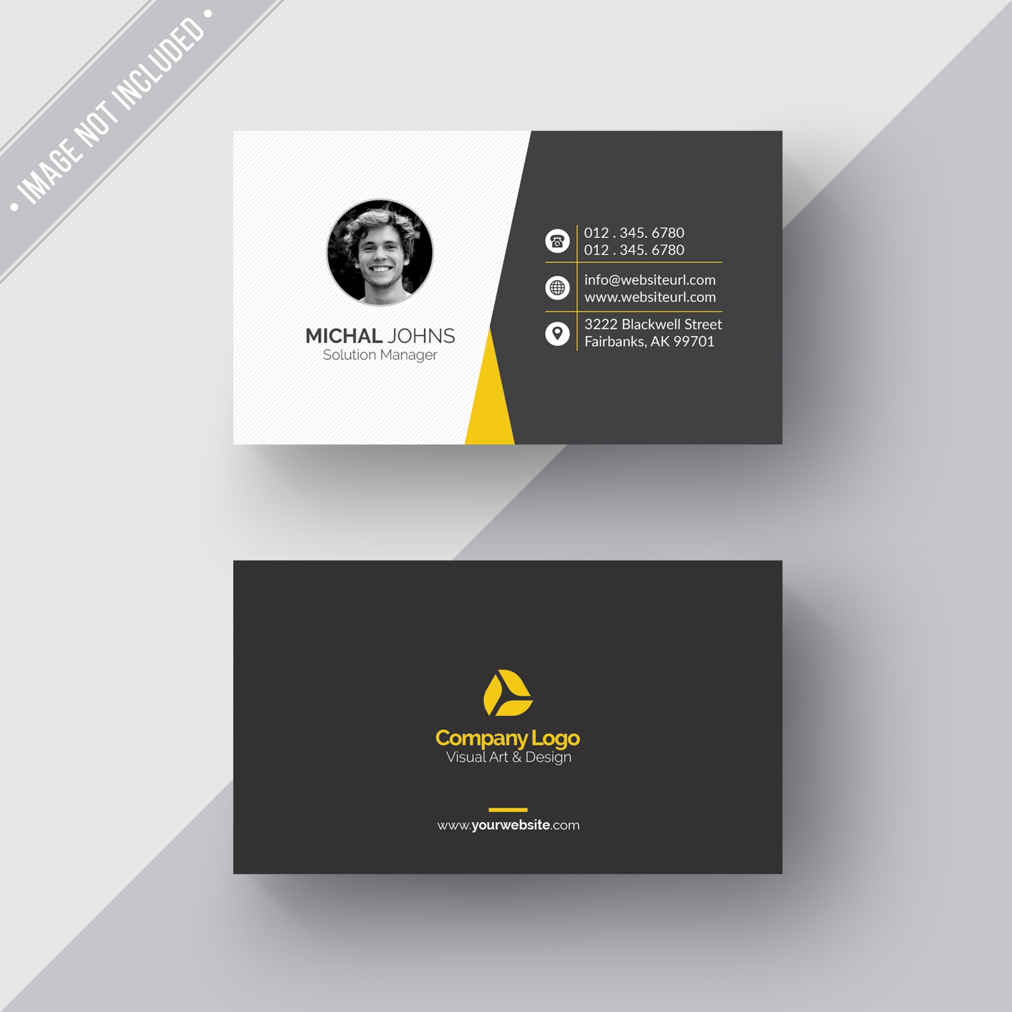 Black and white business card with yellow details