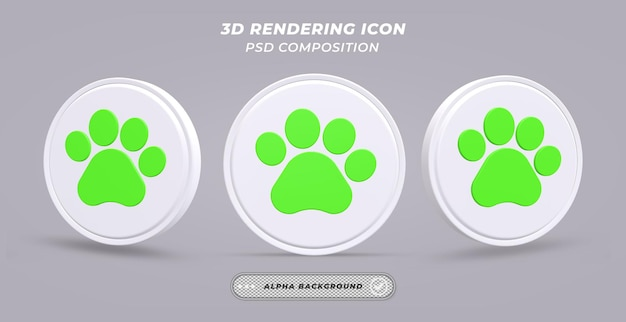 Черно-белый значок лапы собаки в 3d-рендеринге
