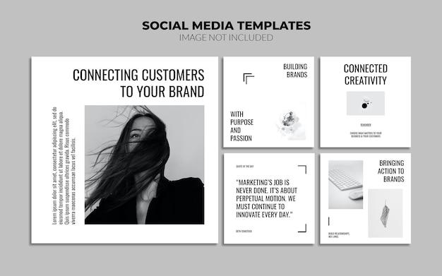 흑백 instagram 소셜 미디어 게시물 템플릿