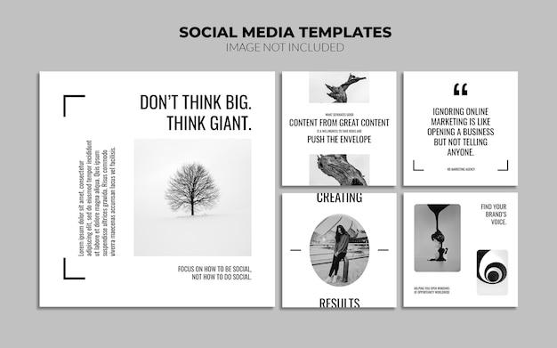 Черно-белые шаблоны сообщений в социальных сетях instagram