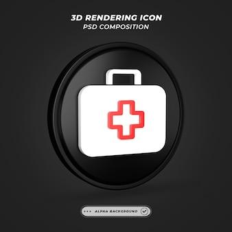 Черно-белый значок аптечки в 3d-рендеринге
