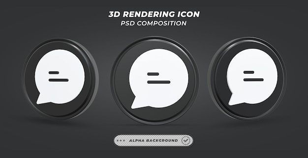 Черно-белый значок сообщения в 3d-рендеринге