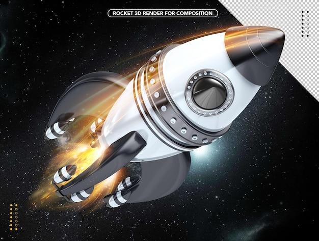 머리 위로 날아가는 흑백 현실적인 3d 로켓