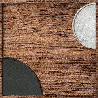 木製の背景ベクトルの黒と白の半円パターン