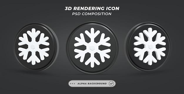 Черно-белый значок снега в 3d-рендеринге