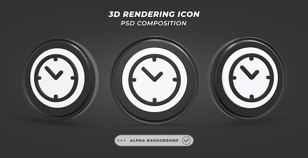 Черно-белый значок настольных часов в 3d-рендеринге