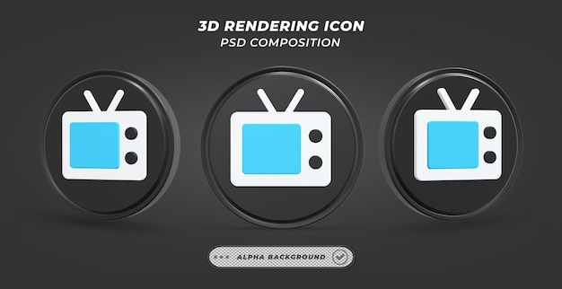 Черно-белый значок телевидения в 3d-рендеринге