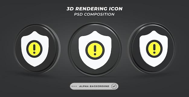 Черно-белый значок предупреждения в 3d-рендеринге