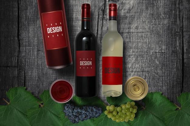 Черно-белое вино дизайн макета
