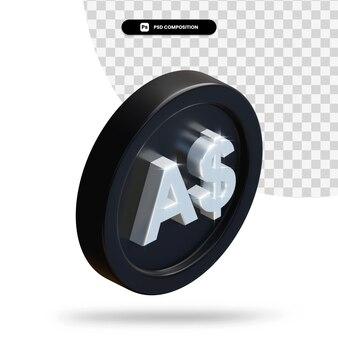 Черная монета австралийских долларов 3d-рендеринга изолированные Premium Psd