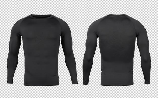디자인을위한 블랙베이스 레이어 긴팔 티셔츠 앞면과 뒷면 모형 템플릿