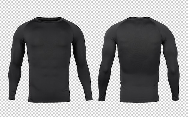 Black base layer longsleeve t-shirts front and back mock-up template for your design