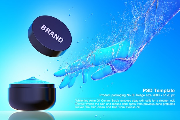 Black beauty product in blue water background 3d render