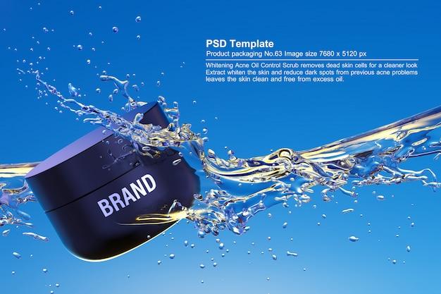 푸른 물 배경에 검은 미용 제품 3d 렌더링