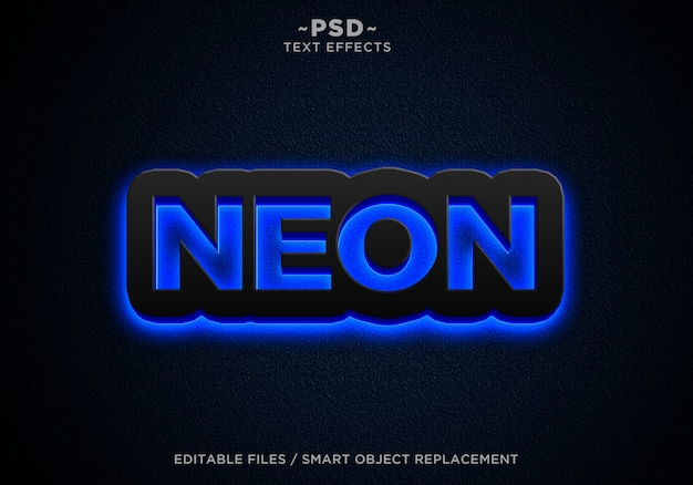 Black blue neon effects editable text